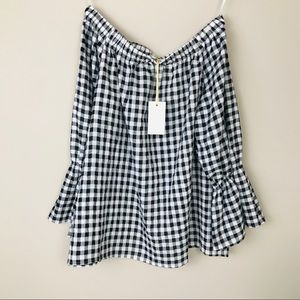 NWT Laju Los Angeles Black and White Check Top